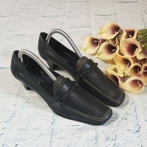 Franco Sarto Square Toe Slip On Heels